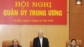 Tổng Bí thư, Chủ tịch nước Nguyễn Phú Trọng, Bí thư Quân ủy Trung ương, phát biểu chỉ đạo hội nghị. Ảnh: TTXVN