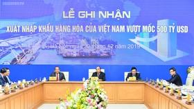 Quang cảnh lễ ghi nhận xuất nhập khẩu hàng hóa của Việt Nam đạt mốc 500 tỷ USD. Ảnh: VGP
