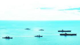 Nhóm tàu sân bay Mỹ tập trận ở Biển Đông ngày 17-7. Ảnh: Twitter của Hạm đội Thái Bình Dương, Mỹ