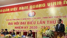 Đồng chí Lê Thanh Liêm phát biểu tại đại hội. Ảnh: VOH