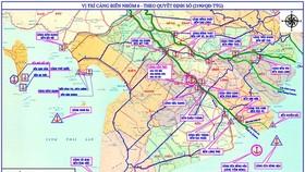 Bản đồ quy hoạch Nhóm cảng biển số 6 - vùng ĐBSCL. Ảnh: TUẤN QUANG