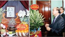 Thủ tướng Nguyễn Xuân Phúc dâng hương tưởng niệm Bác Hồ ở Nhà 67, Khu Di tích Chủ tịch Hồ Chí Minh tại Phủ Chủ tịch. Ảnh: TTXVN
