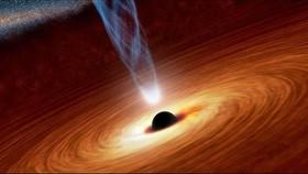 Ảnh minh họa cách ánh sáng dội lại từ phía sau một lỗ đen