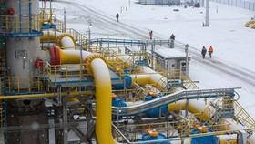 Trạm Gazprom PJSC Slavyanskaya, điểm bắt đầu của đường ống dẫn khí Dòng chảy phương Bắc 2 ở Ust-Luga, Nga vào tháng 1-2020. Ảnh: Bloomberg