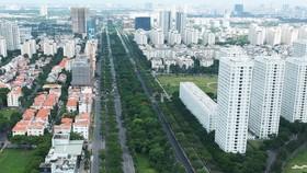 Mảng xanh trên đường Nguyễn Văn Linh, quận 7. Ảnh: CAO THĂNG