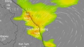 Rạng sáng 24-9, bão số 6 đi vào khu vực từ Thừa Thiên-Huế đến Quảng Ngãi và suy yếu dần thành áp thấp nhiệt đới. Ảnh: Windy