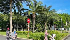 Công viên Cảnh Đồi phường Tân Phong, quận 7 được phép mở cửa cho người dân tập luyện. Ảnh: HOÀNG HÙNG