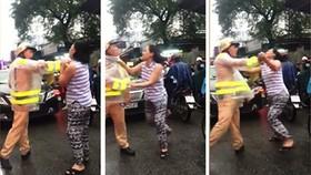 Người phụ nữ lớn tiếng chửi bới chiến sĩ CSGT. Ảnh cắt từ clip