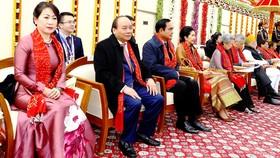 Thủ tướng Nguyễn Xuân Phúc và phu nhân cùng các đại biểu dự lễ kỷ niệm 69 năm Ngày Cộng hòa Ấn Độ. Ảnh: TTXVN