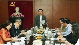 Đồng chí Võ Văn Thưởng phát biểu kết luận buổi làm việc. Ảnh: Nguyễn Dân/TTXVN