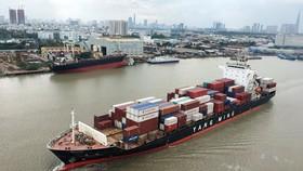Tàu vận chuyển hàng hóa ra khỏi TPHCM trên sông Sài Gòn. Ảnh: CAO THĂNG