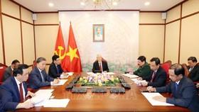 Tối 29-9-2020, tại Trụ sở Trung ương Đảng, Tổng Bí thư, Chủ tịch nước Nguyễn Phú Trọng điện đàm trực tiếp với Tổng Bí thư, Chủ tịch nước Trung Quốc Tập Cận Bình. Ảnh: Trí Dũng/TTXVN