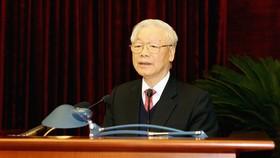 Tổng Bí thư, Chủ tịch nước Nguyễn Phú Trọng phát biểu bế mạc Hội nghị. Ảnh: TTXVN