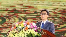 Phó Thủ tướng Chính phủ Vũ Đức Đam phát biểu tại Lễ khai mạc Năm Du lịch quốc gia 2021. Ảnh: TTXVN