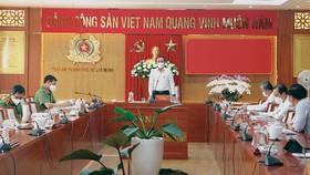 Bí thư Thành ủy TPHCM Nguyễn Văn Nên phát biểu tại buổi làm việc với Ban Giám đốc Công an TPHCM