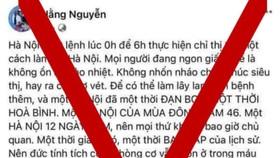 """Bài viết trên tài khoản Facebook """"Hằng Nguyễn"""" có nội dung ảnh hưởng đến trật tự xã hội, gây hoang mang trong nhân dân. Ảnh: TTXVN"""