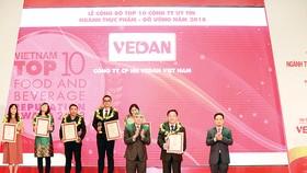 Vedan Việt Nam được vinh danh trong tốp 10 công ty uy tín ngành thực phẩm - đồ uống năm 2018