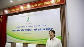 GS.TS Trịnh Hồng Sơn, Giám đốc Trung tâm Điều phối Quốc gia về ghép bộ phận cơ thể người phát động cuộc thi. Ảnh: TTXVN