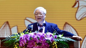 Tổng Bí thư, Chủ tịch nước Nguyễn Phú Trọng đọc diễn văn tại lễ kỷ niệm. Ảnh: QUANG PHÚC