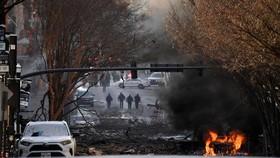 Hiện trường sau vụ nổ. Ảnh: REUTERS