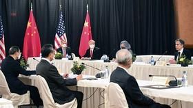 Quang cảnh đối thoại cấp cao về an ninh và đối ngoại Mỹ và Trung Quốc tại Alaska, Mỹ ngày 18-3. Ảnh: AFP/TTXVN