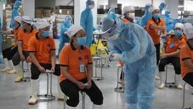 Cán bộ y tế tỉnh Quảng Ninh hỗ trợ Bắc Giang lấy mẫu xét nghiệm. Ảnh: Bộ Y tế