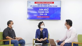 Phó Chủ tịch UBND TPHCM Phan Thị Thắng tham dự chương trình Dân hỏi - Thành phố trả lời. Ảnh: TTBC TPHCM
