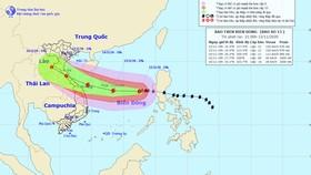 Dự báo đường đi bão số 13 Nguồn: Trung tâm Dự báo KT-TV Quốc gia