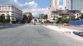 Mặt bằng thi công tuyến Metro Bến Thành- Suối Tiên trước Nhà hát TP đã được tái lập. Ảnh: QUỐC HÙNG