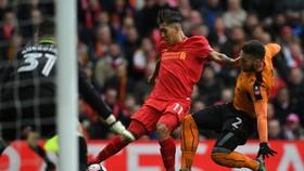 Roberto Firmino (Liverpool) sút bóng trước cầu môn Wolves.