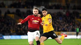 Luke Shaw (trái, Man United) bất lực trước Raul Jimenez (Wolves)
