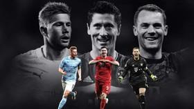 Kevin De Bruyne, Robert Lewandowski và Manuel Neuer