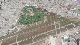 Khu vực sân bay Tân Sơn Nhất nhìn từ vệ tinh.