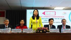 Ban tổ chức thông tin các nội dung hoạt động của ITE HCMC 2019 tại họp báo. Ảnh: PHONG LAM