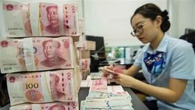Kiểm đồng 100 nhân dân tệ tại ngân hàng ở tỉnh Giang Tô,Trung Quốc. (Ảnh: AFP/TTXVN)