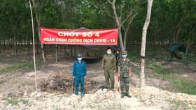 Tây Ninh tăng cường lực lượng trực chốt canh người qua lại khu vực biên giới Tây Ninh- Campuchia bằng các chốt dã chiến 24/24h.