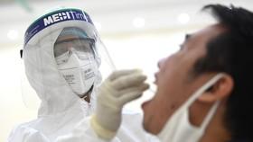 Nhân viên y tế của quận Cầu Giấy, Hà Nội tiến hành lấy mẫu dịch hầu họng để xét nghiệm bằng phương pháp RT-PCR của người dân từ Đà Nẵng trở về. (Ảnh: Thành Đạt/TTXVN)