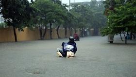Đường Trường Chinh, thành phố Điện Biên Phủ ngập sâu trong nước. (Ảnh: Phan Tuấn Anh/TTXVN)