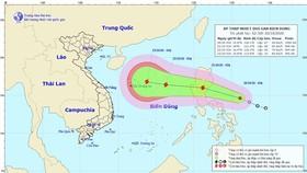 Đường đi và vị trí của áp thấp nhiệt đới. (Nguồn: nchmf.gov.vn)