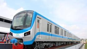Đoàn tàu đầu tiên của tuyến metro số 1 tại Depot Long Bình tuyến Bến Thành-Suối Tiên. (Ảnh: Tiến Lực/TTXVN)