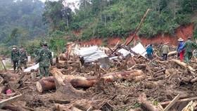 Lực lượng quân đội tiếp tục tìm kiếm các nạn nhân bị mất tích trong vụ sạt lở đất ở xã Phước Lộc, huyện Phước Sơn (Quảng Nam). (Ảnh: Trần Tĩnh/TTXVN)