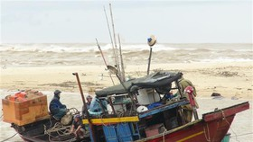 Bão số 13 làm trôi dạt tàu cá của ngư dân. (Ảnh: Đức Thọ/TTXVN)
