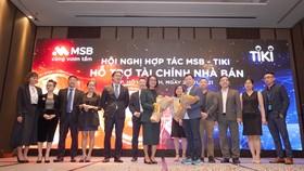 Lãnh đạo MSB và TIKI thực hiện nghi thức ký kết thỏa thuận hợp tác.
