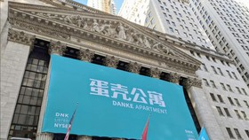 Biểu ngữ trên Tòa nhà của Sở Giao dịch Chứng khoán New York kỷ niệm IPO của công ty cho thuê nhà ở trực tuyến của Trung Quốc Danke vào 17-1-2020. Ảnh: Handout