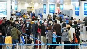 Hành khách làm thủ tục chuyến bay tại sân bay Nội Bài. (Ảnh: CTV/Vietnam+)