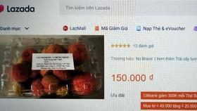 Hiện vải Hải Dương được bán trực tuyến trên trang TMĐT Lazada với giá 150.000 đồng/kg.