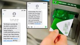Hình ảnh tin nhắn anh Thanh Hiếu nhận được từ ngân hàng, trong đó tin đính kèm đường link là giả mạo