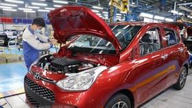 Dây chuyền sản xuất ô tô của Hyundai Thành Công thuộc Công ty Cổ phần Tập đoàn Thành Công, tại Khu công nghiệp Gián Khẩu, tỉnh Ninh Bình. (Ảnh: Đức Phương/TTXVN)