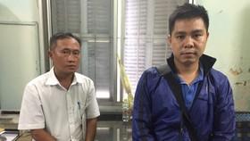 Mai Phước Việt (trái) và Lê Bảo Thành tại cơ quan điều tra. Ảnh: ÁI CHÂN