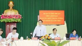 Trưởng Ban Tổ chức Trung ương Phạm Minh Chính phát biểu tại buổi làm việc. Ảnh: KIỀU PHONG